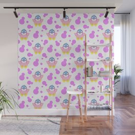 Cute sweet lovely little baby penguins flapping wings, bold pink retro dots pretty girly pattern Wall Mural