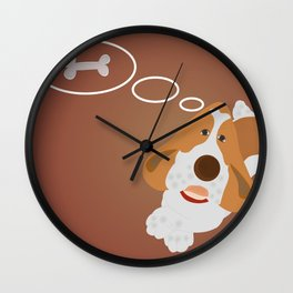 Dog dreaming about bonelet Wall Clock