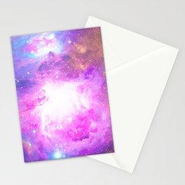 Colorful Pastel Pink Nebula Purple Galaxy Stars Stationery Cards