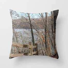 Fence on the path by the Lake Throw Pillow