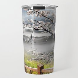 Japanese Cherry Landscape Travel Mug