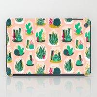 garden iPad Cases featuring Terrariums - Cute little planters for succulents in repeat pattern by Andrea Lauren by Andrea Lauren Design