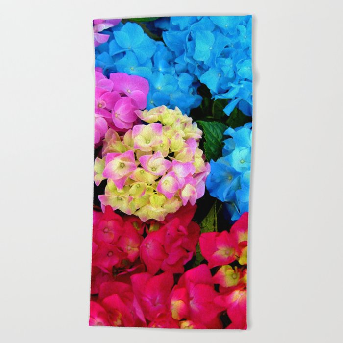 Red Blue Rose Flower Blossoms Hydrangeas Beach Towel