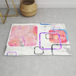Watercolor Geometric Print Pattern Pink Contemporary Squares Rug