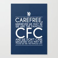 chelsea fc Canvas Prints featuring Carefree Chelsea by Little Aig