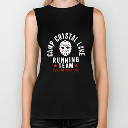 Friday The 13Th Camp Crystal Lake Running Team Voorhees Charcoal Gray Camp T-Shirt Biker Tank