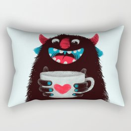 Demon with a cup of coffee (contrast) Rectangular Pillow