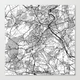 Stuttgart Map Gray Canvas Print
