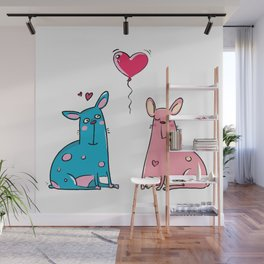 LOVE Blue and Pink Dog Wall Mural