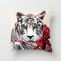 tiger Throw Pillows featuring White Tiger by Felicia Atanasiu