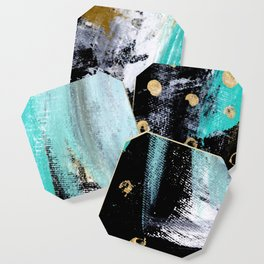 Fairy Dreams: an abstract mixed media piece in black, white, teal, and gold Coaster