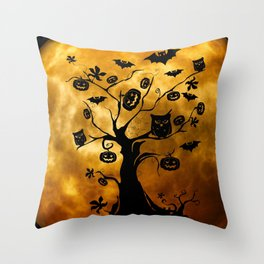 Surreal halloween tree with pumpkins, bats and owls Throw Pillow