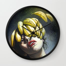 Portrait - Bananas From Up Above Wall Clock