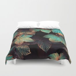 Copper And Teal Leaves Duvet Cover