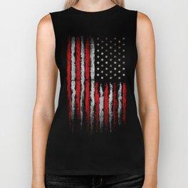 Red & white Grunge American flag Biker Tank