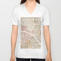 paris map V-neck T-shirts featuring PARIS by Mapsland