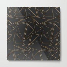 Minimalist Geometric Gold Black Strokes Triangles Metal Print