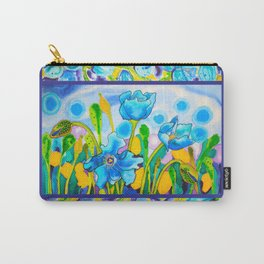 Blue Poppies 1 with Border Carry-All Pouch