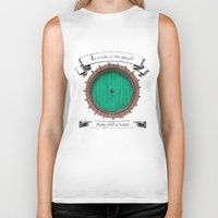 hobbit Biker Tanks featuring There lived a hobbit by Cécile Pellerin