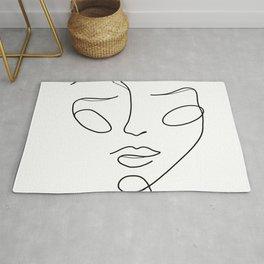 Lady face white Rug