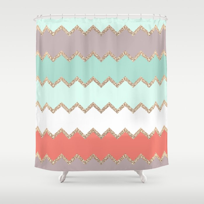 AVALON CORAL MINT Shower Curtain