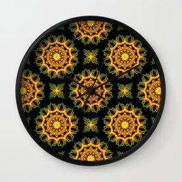 Black and Gold Lacy Mandala Fractals - Moroccan style Wall Clock