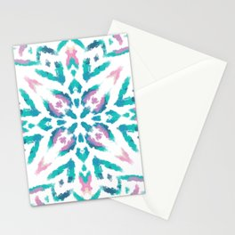 Teal and Pink Ethnic Painterly Mandala - Abstract Art - Marocco  Stationery Cards