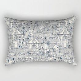 retro circus indigo ivory Rectangular Pillow
