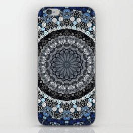 Dark Blue Grey Mandala Design iPhone Skin
