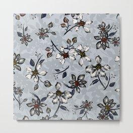 Botanical Pattern on Grey Background Metal Print