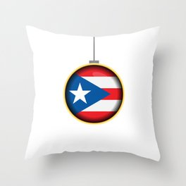 Feliz Navidad Puerto Rico Flag Throw Pillow