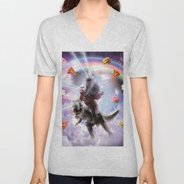 Laser Eyes Space Cat On Sloth Dinosaur - Rainbow Unisex V-Neck