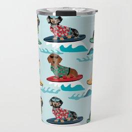 dachshund surfing dog breed pattern pet gifts Travel Mug