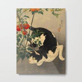 Shotei Takahashi Black & White Cat Tomato Garden Japanese Woodblock Print Metal Print
