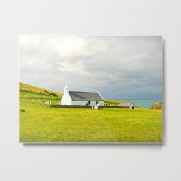Mwnt Chapel. Cardigan. Embossed. Metal Print