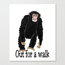 Chimp, out for a walk Canvas Print