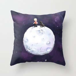 Boy and the Chocolate dog on the Moon Throw Pillow