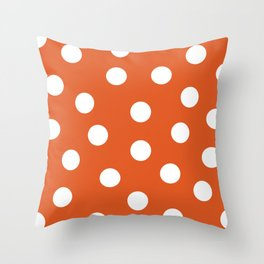 Polka Dots - Flame and White Throw Pillow
