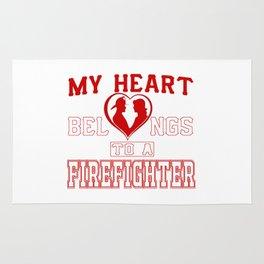 My heart belongs to a Firefighter Rug