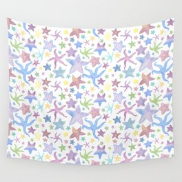 Watercolor Starfish Pattern - Pastel Wall Tapestry
