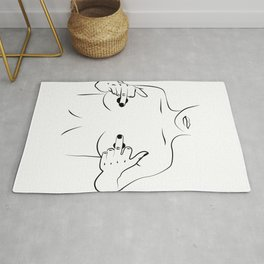 Hiding nipples, Woman In One Line, Fashion Printable, nude lady showing middle finger Rug