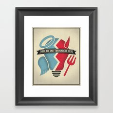 Two kinds of ideas poster Framed Art Print