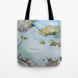 SF, San Francisco, Oakland, Bay Area, California Watercolor Map Art Tote Bag