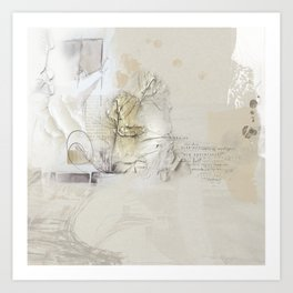 Abstract - Tranquility 1 - Soft Neutral Color Collage - Mixed Media Art Print