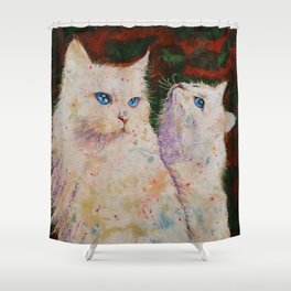 White Cats Shower Curtain