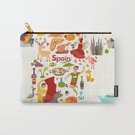 Spain map vector, contour. Illustrated map of Spain for children Carry-All Pouch