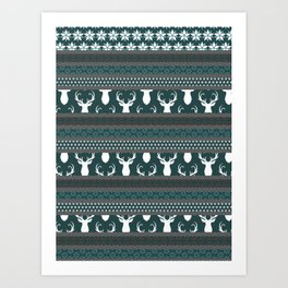 Teal Christmas Sweater Art Print
