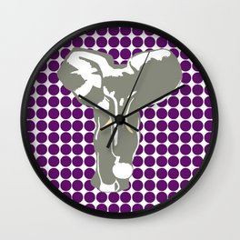 African Violet Safari Dot with Pop Art Elephant Wall Clock