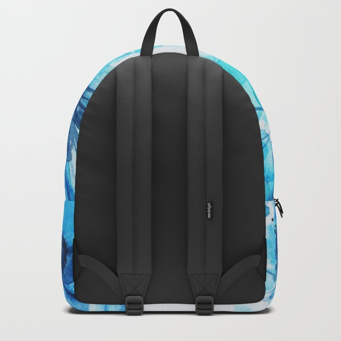 Blue Watercolor Floral Backpack