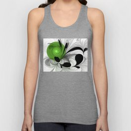Abstract Black and White with Green Unisex Tank Top